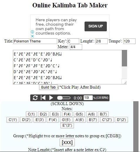 online-kalimba-tab-maker Online Kalimba Tab Notation Maker(New Update)
