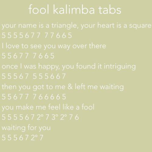 F45B92D8-79FD-44A5-9BD5-B496BC0B0046-ead4e7d3-500x500 Frankie Cosmos - Fool kalimba tabs